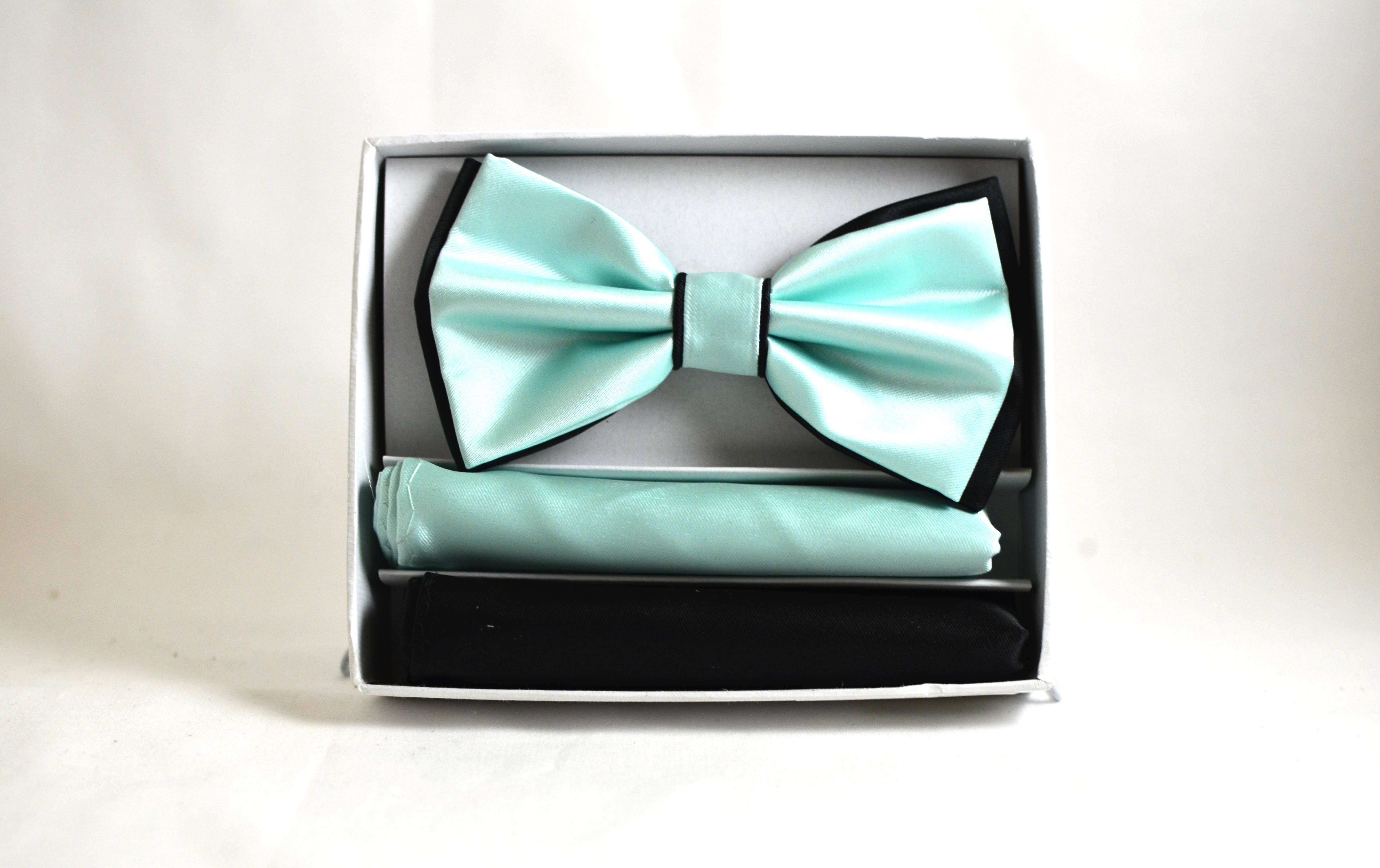 Turquoise Bow and Pocket Square