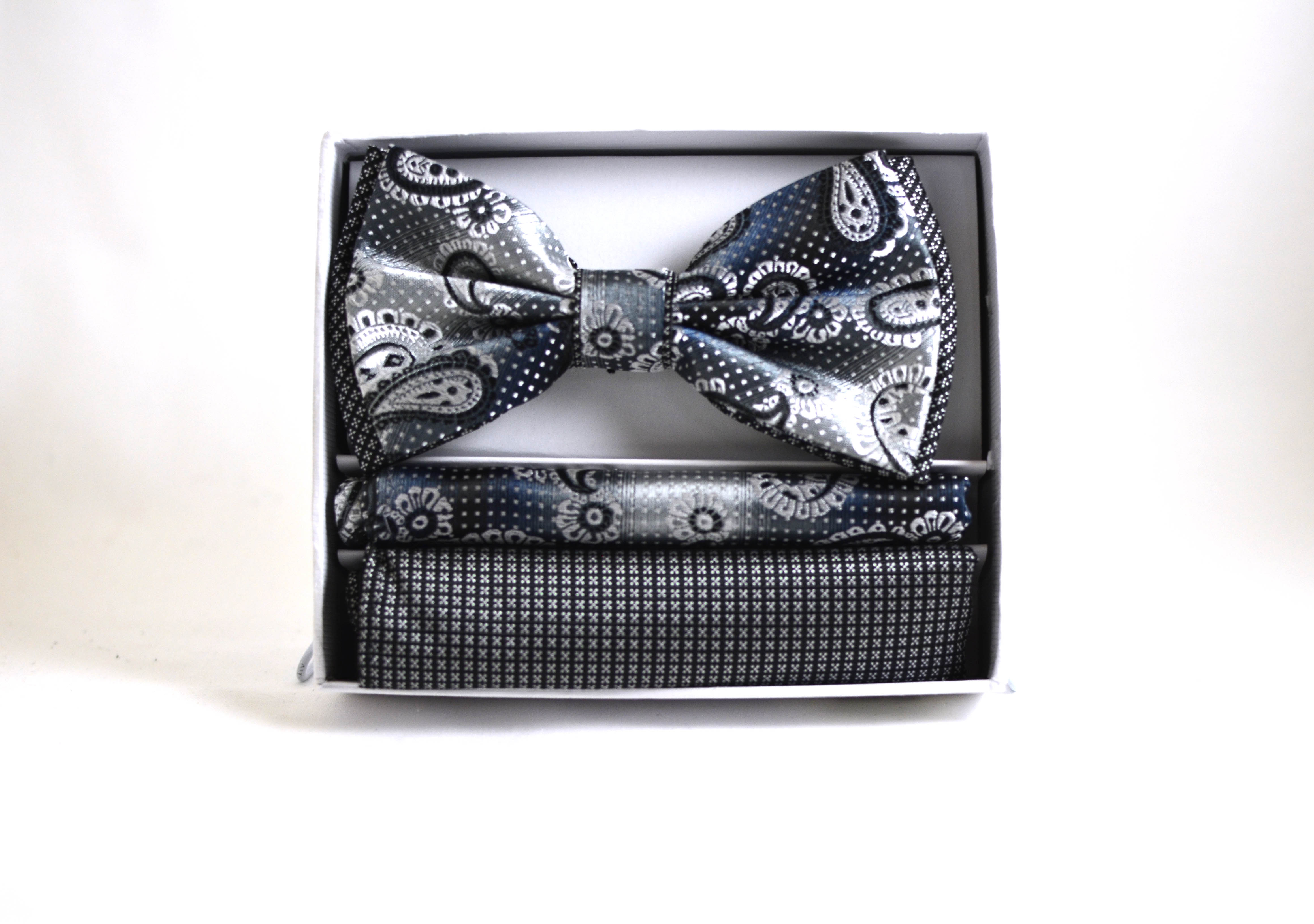 Silver Paisely Bow Tie and Pocket Square