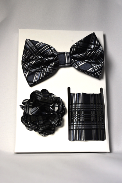 Black Plaid Bow